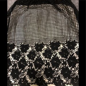 J Gee Skirts - Black, fully lined, crochet lace floral skirt